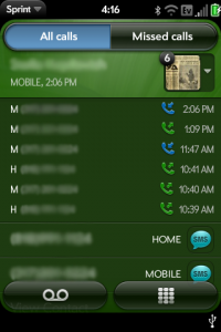 webOS Phone Call Log
